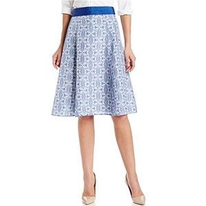 Pendleton ribbon trimmed silk print skirt